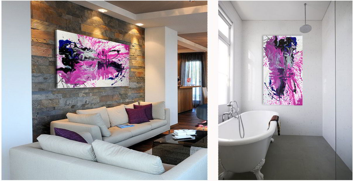 Art in a bathroom and a sitting room