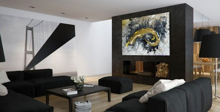 Mural and a large painting in a light room