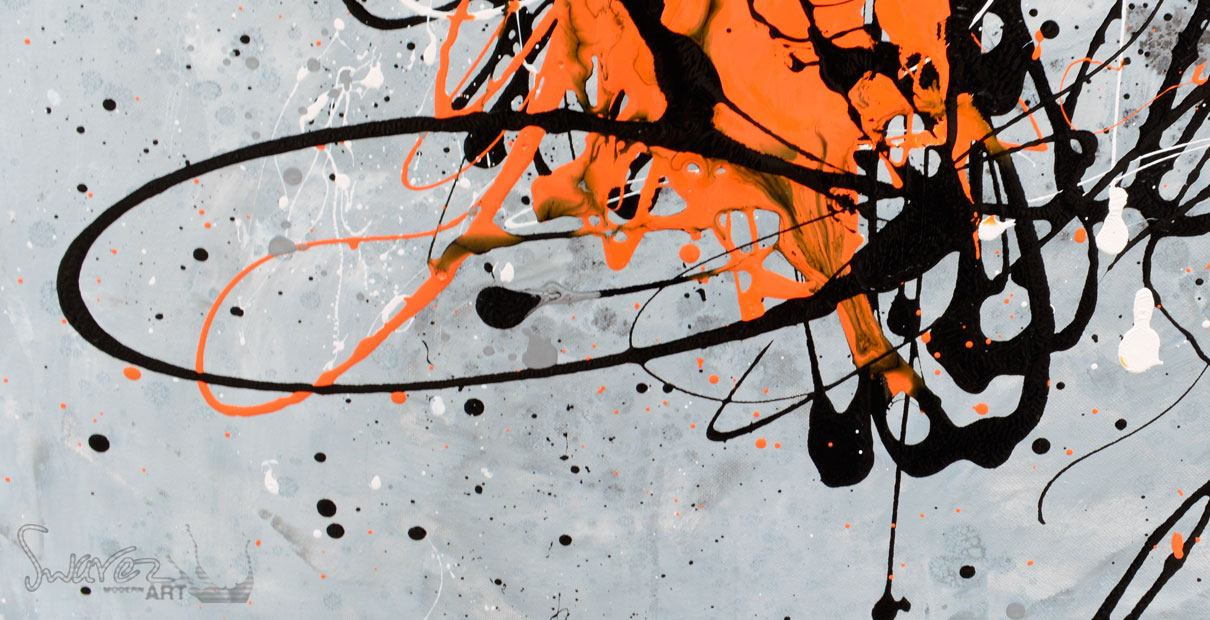 big painting large orange and black abstract art for sale