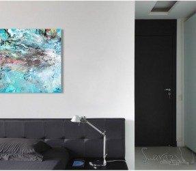 Bedroom in black with art