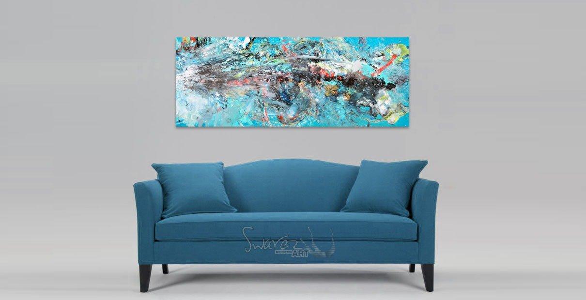 Blue classic sofa and art