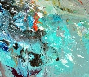 Aqua green and turquoise paint on painting