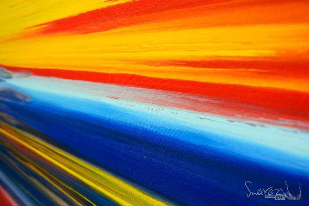 Modern Art Line Painting : Lines painting original multi coloured art striped