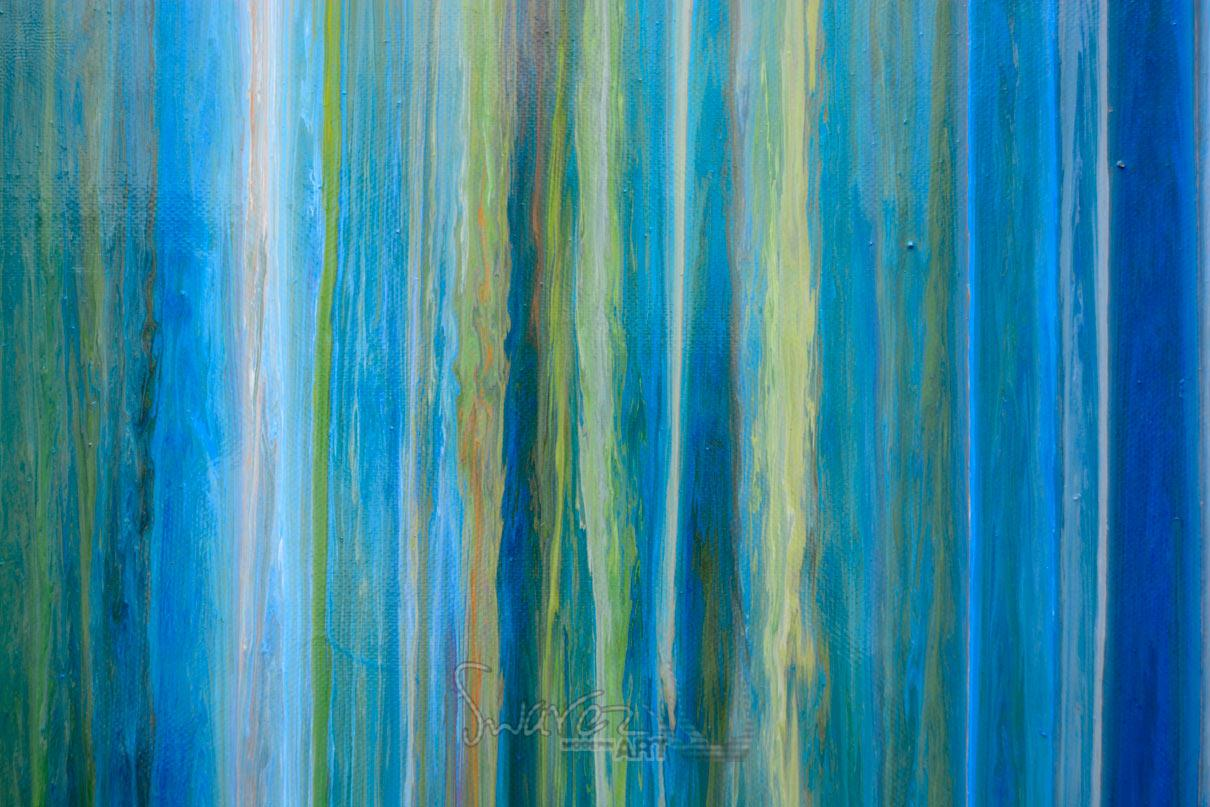 Hanging Prints Blue Stripey Painting Art With Straight Lines Earth Greens