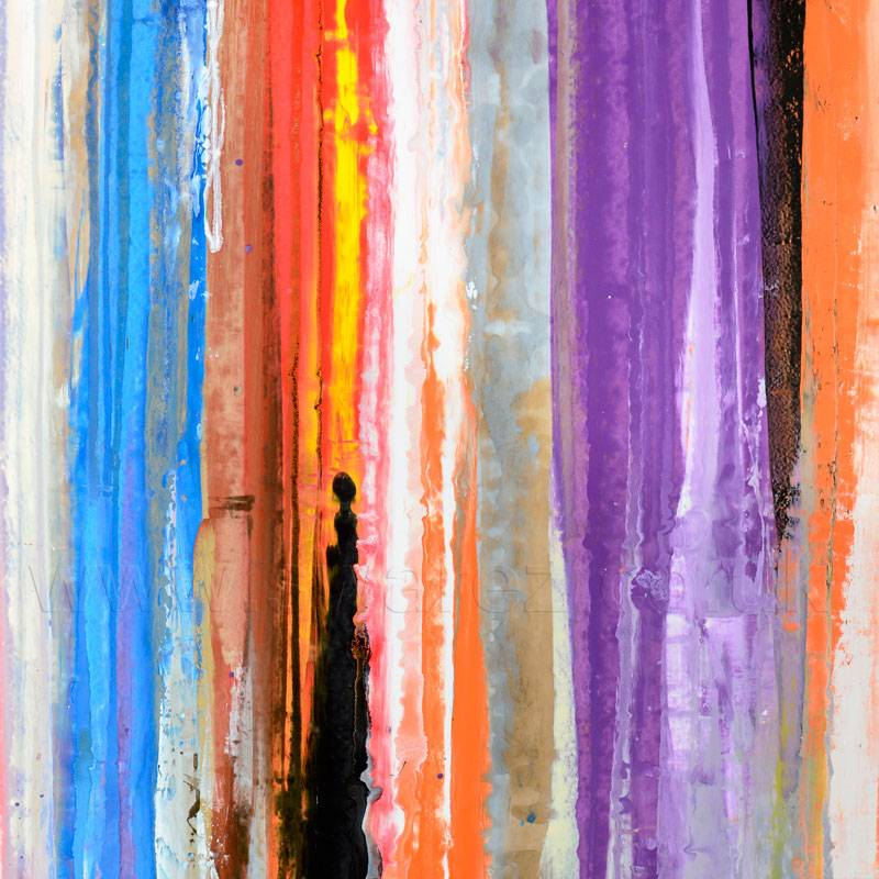 Large square abstract painting called Back to Reality
