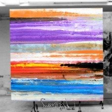 Large square multi-coloured art