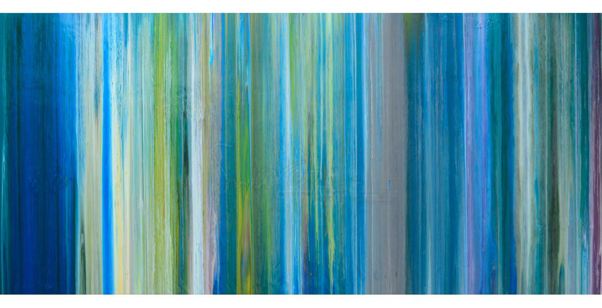 Blue Line Art Painting : Blue stripey painting art with straight lines earth greens