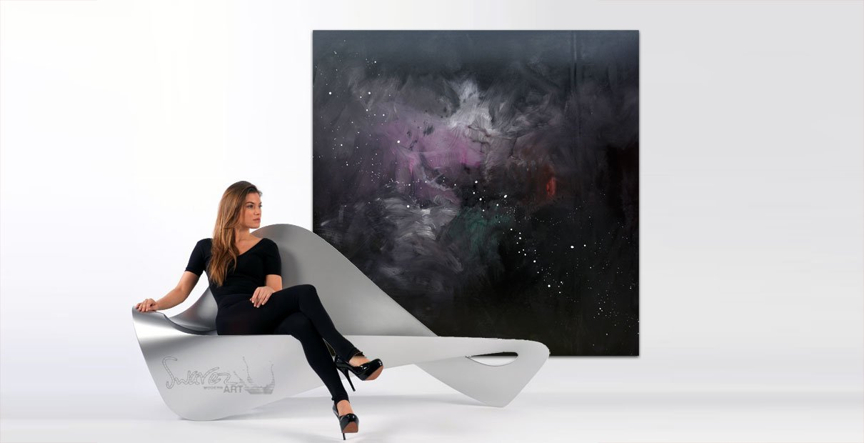 Large square black and pink painting