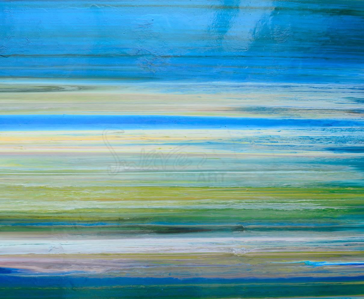 Modern Art Line Painting : Blue stripey painting art with straight lines earth greens