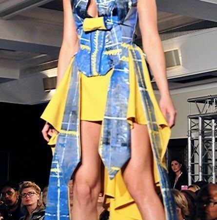 Swarez and Adnan Bayyat Yellow tartan dress London Fashion Week 2014