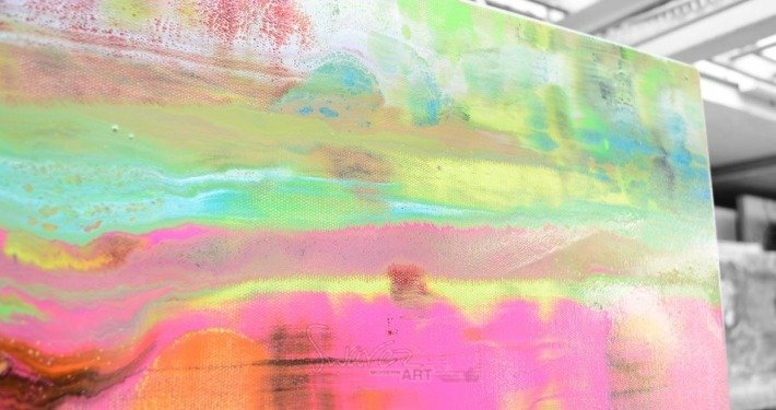 Lime, orange and pink art painting