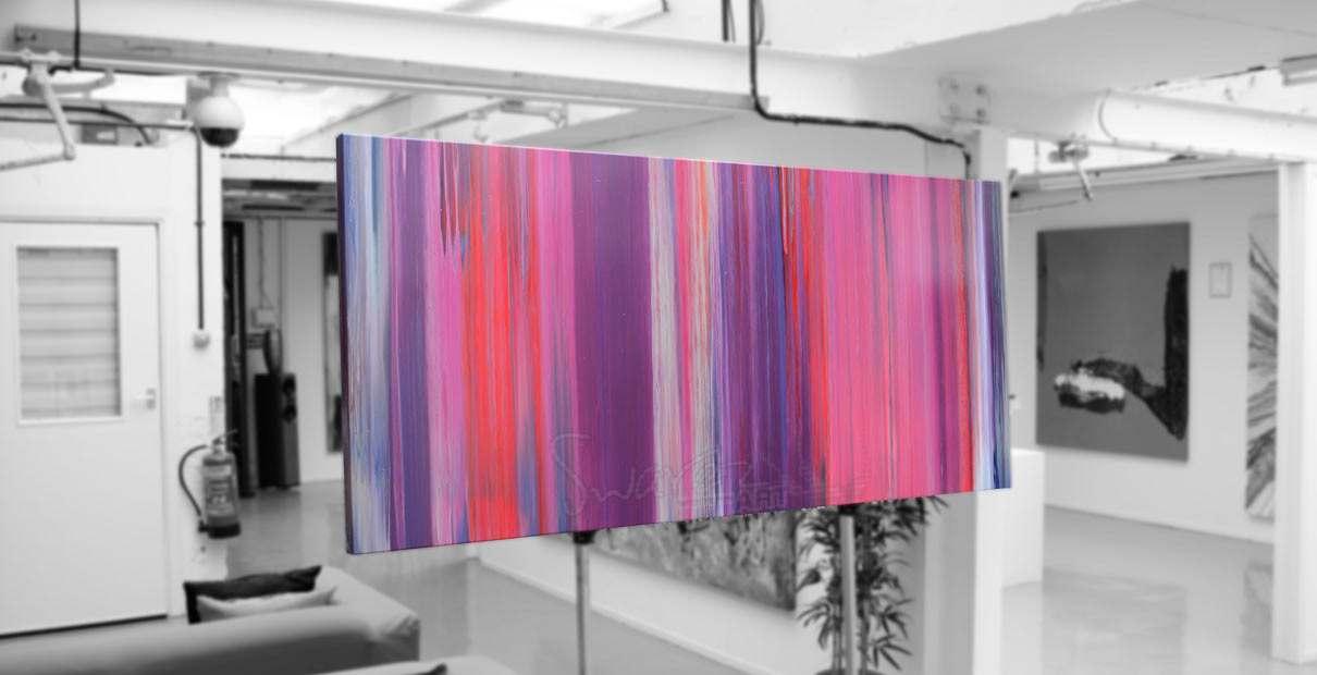 Pink art sat on an artists easel