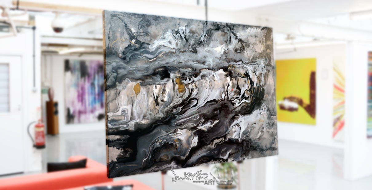 Silver and Grey Stone Painting