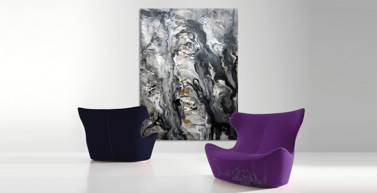 Silver and stone painting with two chairs