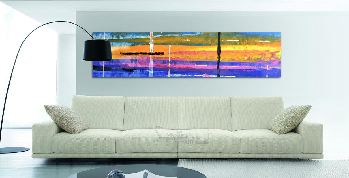Long painting and sofa