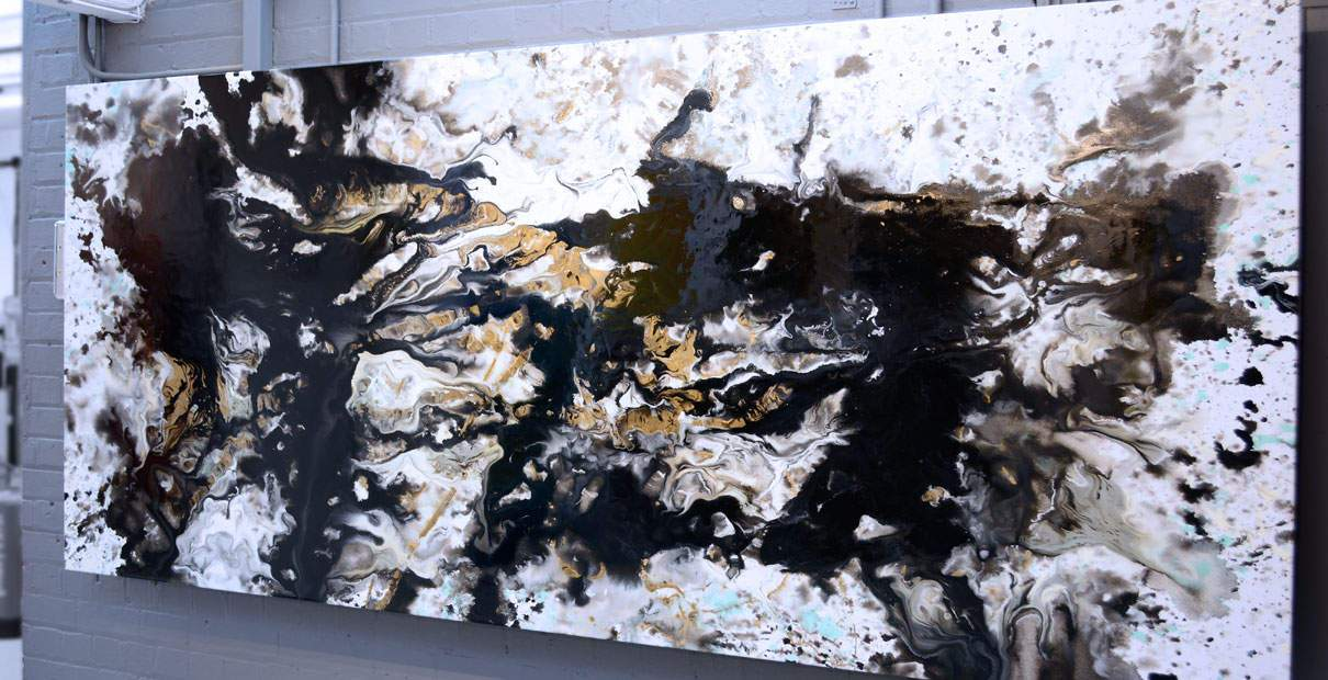 Gold, aqua and black gloss painting