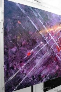Purple and pink painting on a stand