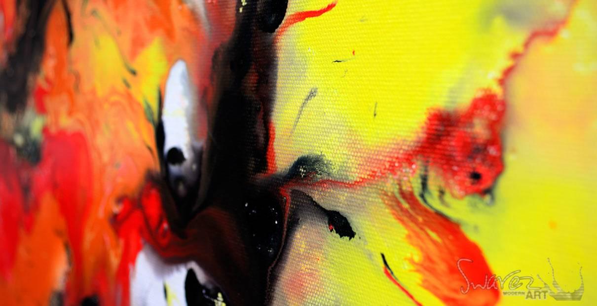 Square orange and black art