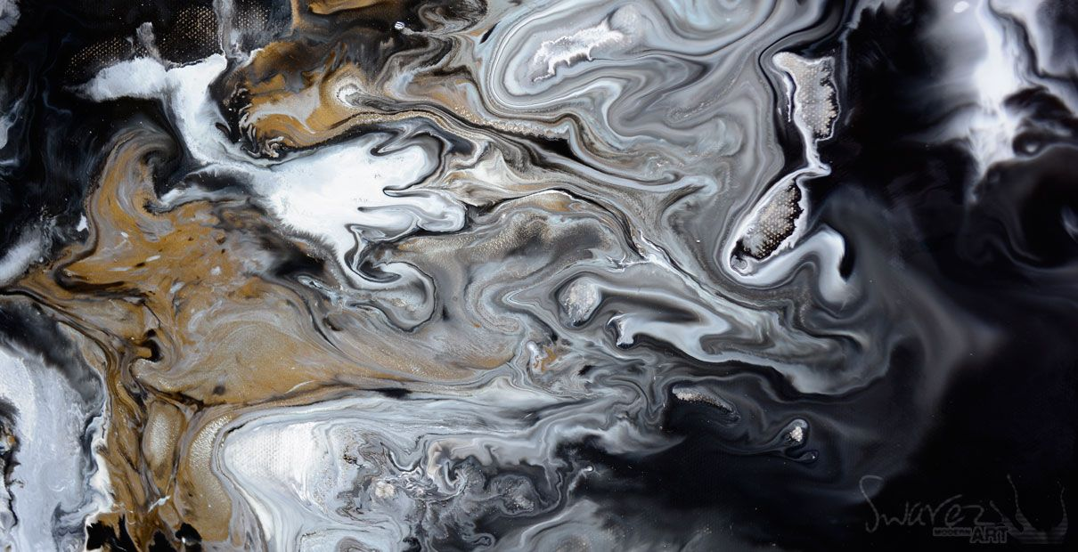 Very Big Black And White Abstract Painting Called Mother