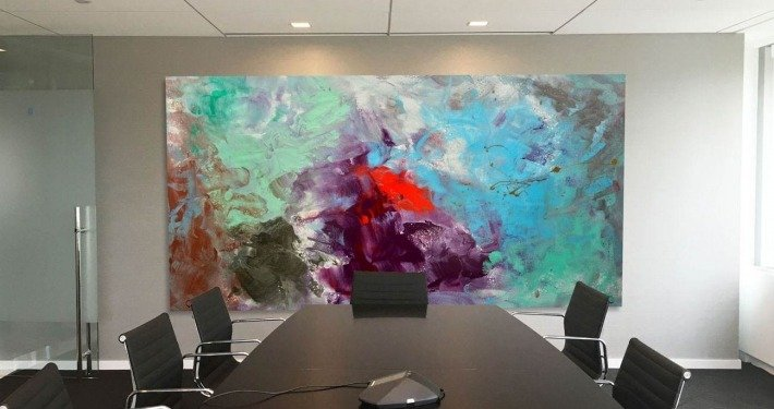 Big original artwork in a conference room