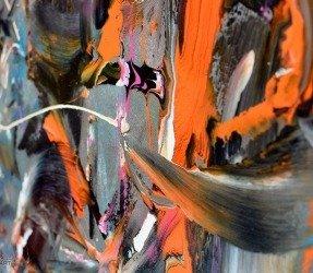 Black and orange paint on canvas