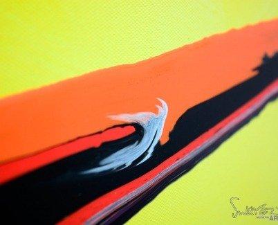 Bold canary yellow art close-up