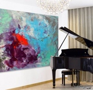 Enormous abstract art and a Grand Piano