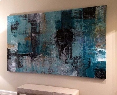 Large painting called Blue Harmony