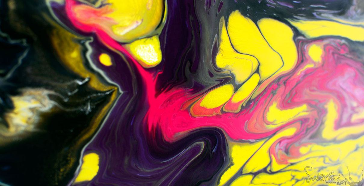 Pink, yellow and black colored paints on canvas