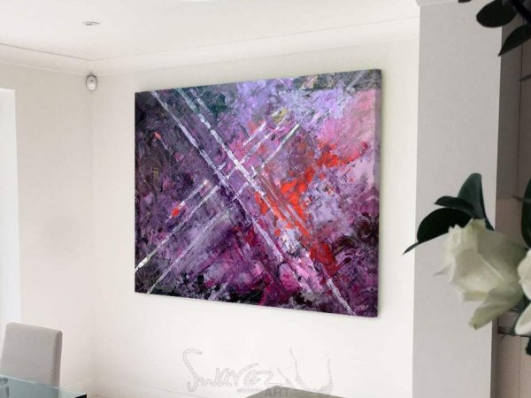 purple painting with angled lines