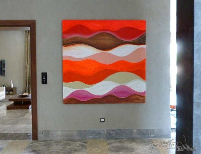 August rush red and orange swirly art