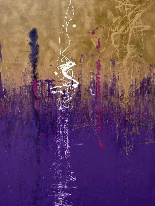 Purple and gold abstract art in Dubai