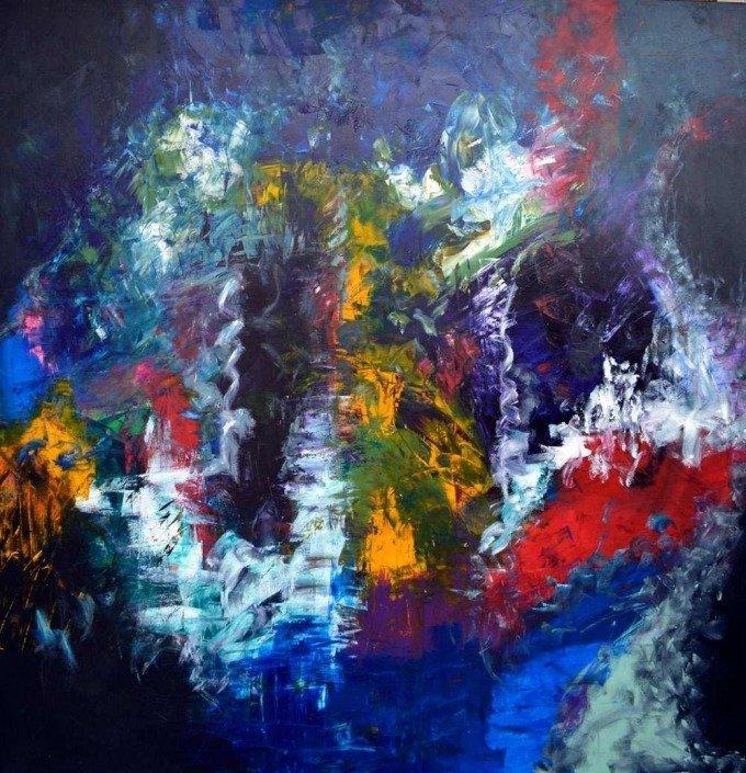 Multi coloured large art called I Remember Paris