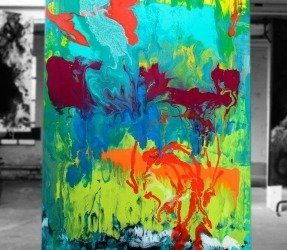 Aqua blue abstract painting