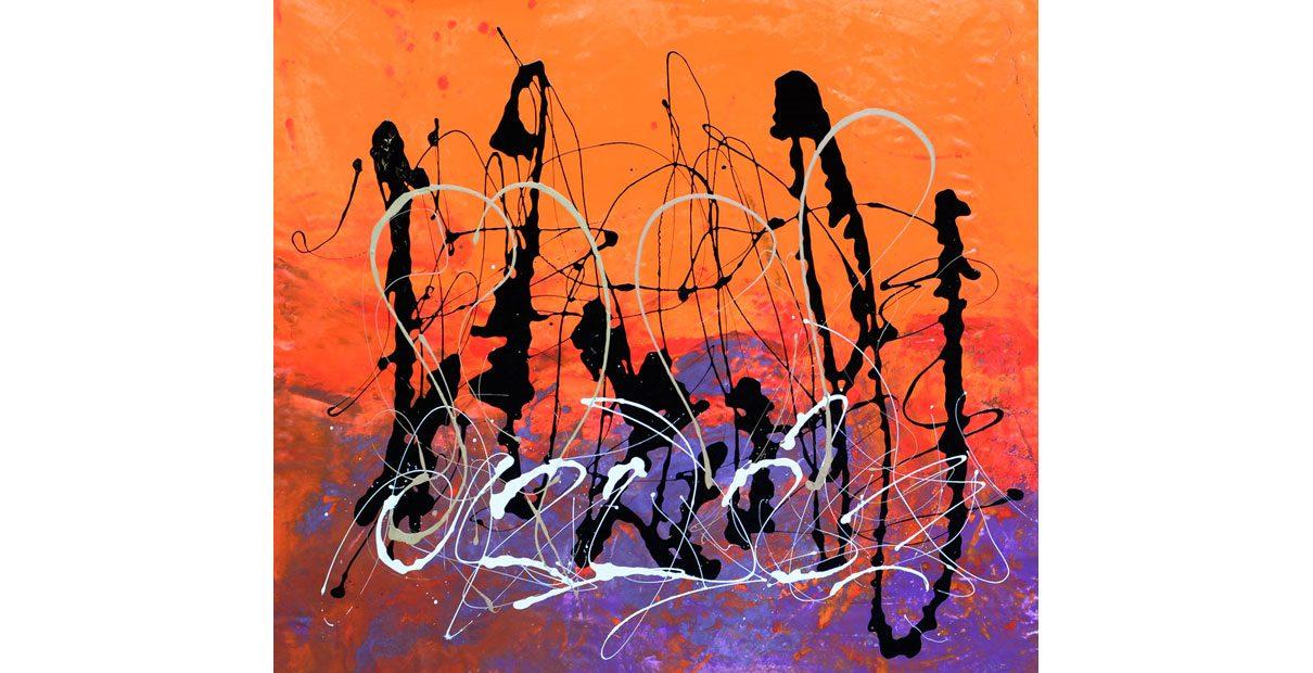 Big orange and purple abstract art
