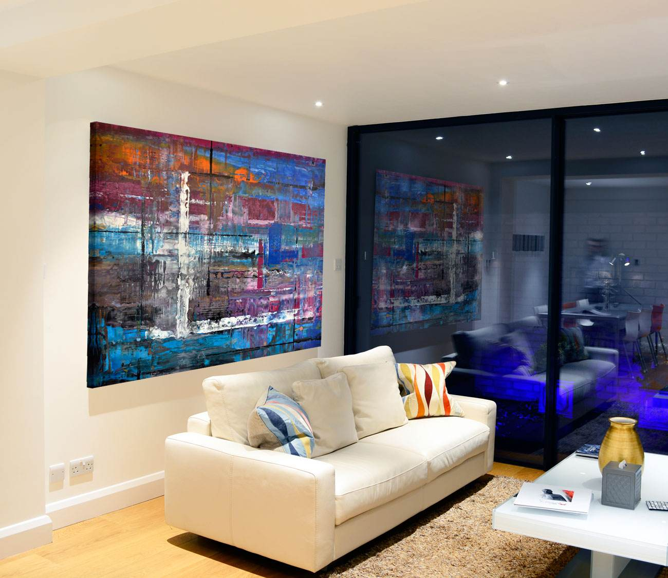 Rooms With Lines: Large Blue Abstract Painting Called 'Bolt From The Blue