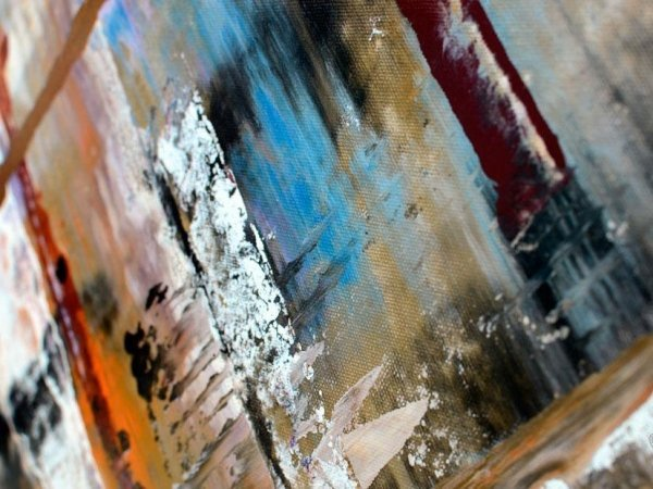 Close up view of a large abstract painting