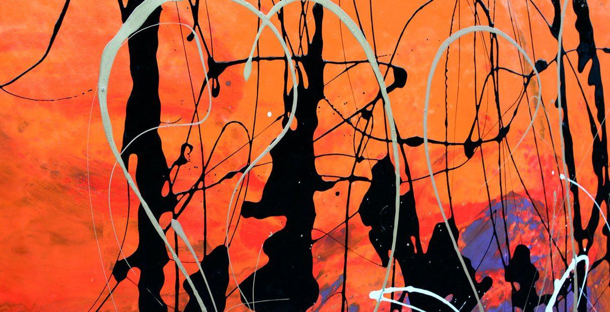 Orange and black enamel paints on canvas