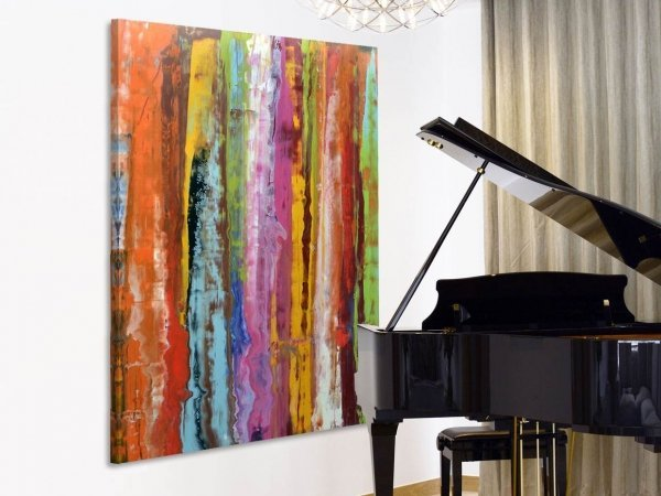 Large striped art and grand piano
