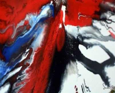 Minimal red and black modern art
