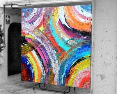 Brightly coloured paints on canvas