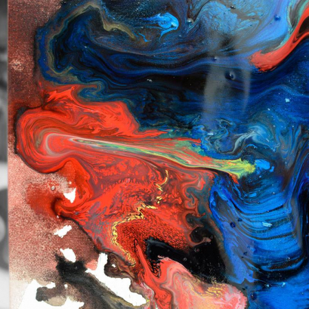 Close up of blue, red and gold paints