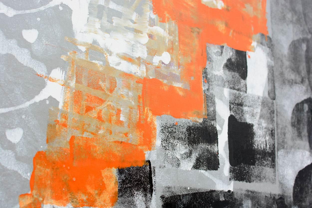 Square Black And Orange Painting