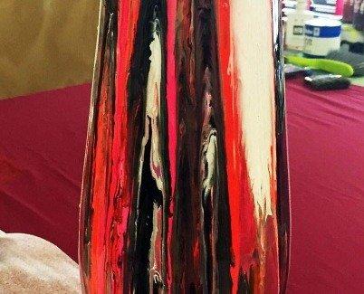 Long slender glass vase
