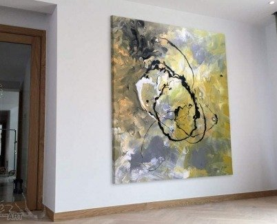 Abstract art hung in portrait orientation