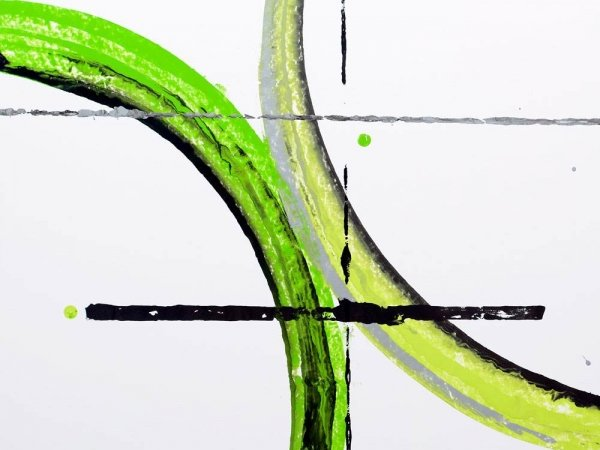 Green arcs of paint