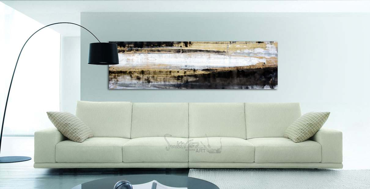 Black gold and copper abstract painting called 39 how far for Gold wall paint uk