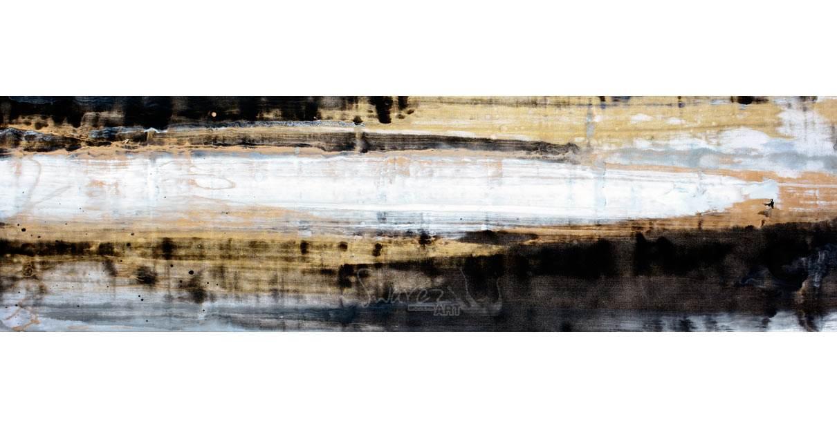 Narrow slim gold and black art