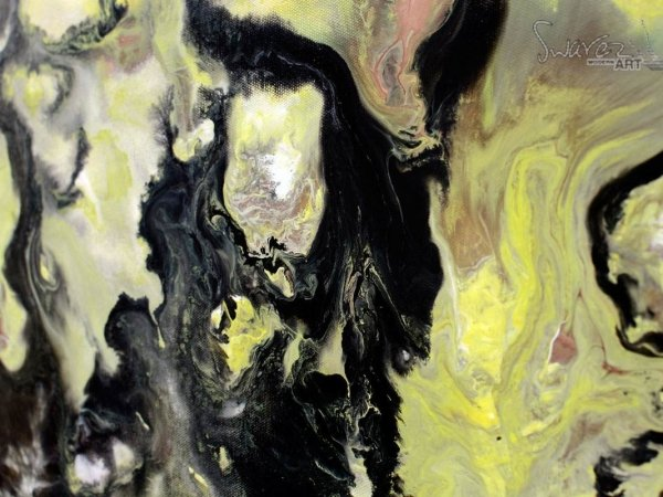 yellow and black paints on canvas