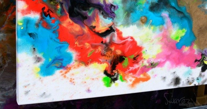 Blotted paints on canvas